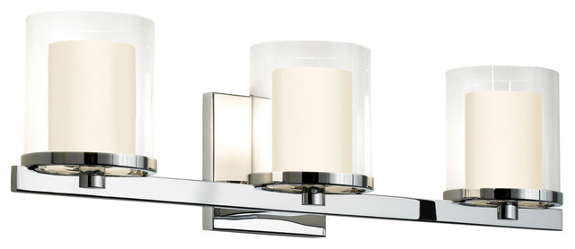 Contemporary Chrome Vanity Lights : Sonneman 3413.01 Votivo Polished Chrome 3 Light Vanity - Contemporary - Bathroom Vanity Lighting ...