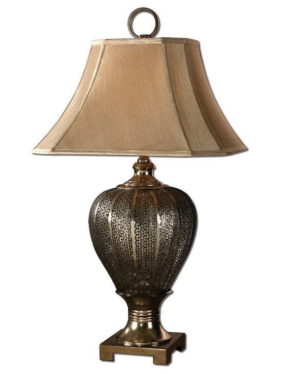 Uttermost - Cupello Metal Table Lamp - Piercing may be all the rage but there's nothing classier than this unique pierced metal lamp with an antiqued, silver champagne finish. The lacy metalwork is sophisticated and very textural when combined with the clipped corners shade in a taupe silk fabric.