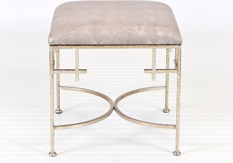 Worlds Away Lolita Silver Leaf Stool with Snakeskin contemporary