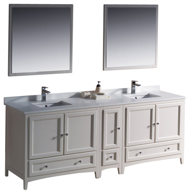"Fresca Oxford Traditional Bathroom Vanity, Antique White, 84"" modern-bathroom-vanities-and-sink-consoles"