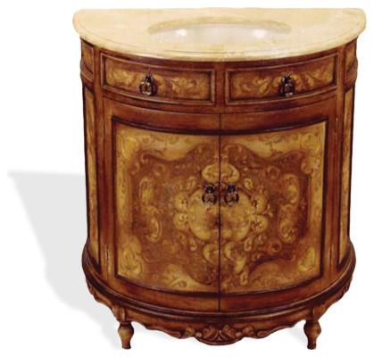 Old World Tuscan Travertine Half Moon Vanity Brown Crackle Traditional Bathroom Vanities