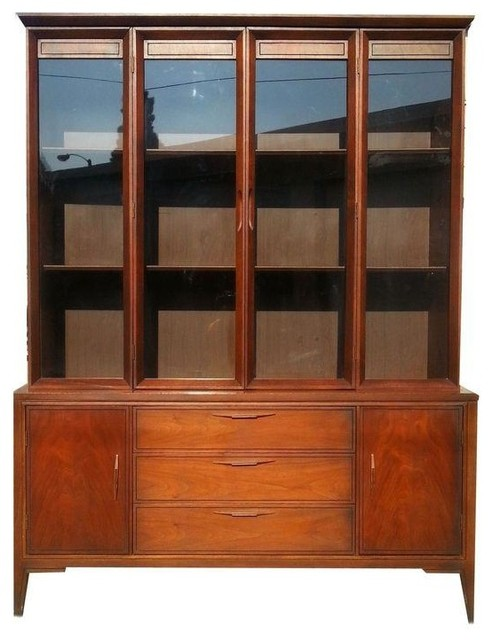 Used mid century teak china cabinet midcentury storage for Modern teak kitchen cabinets