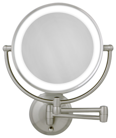 1x satin nickel round led lighted wall mirror modern makeup mirrors. Black Bedroom Furniture Sets. Home Design Ideas