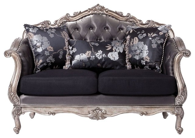 Acme 51540 chantelle collection antique platinum rocco for Traditional tufted leather sofa