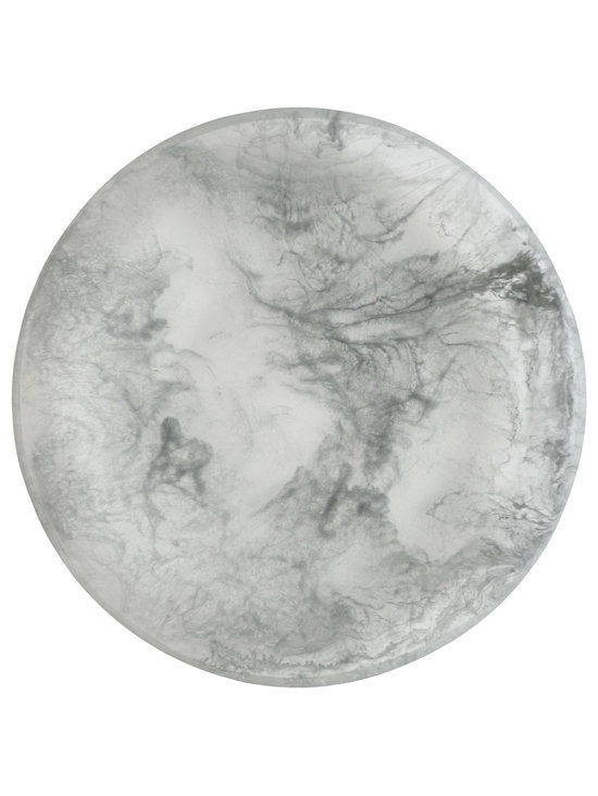 Martha Sturdy resin flat platter in silver marble - With an international reputation in art, sculpture and design, Martha Sturdy is known for her distinctive style that is sophisticated, minimal and bold. Martha creates oversized statements in resin, steel and brass. Made in Canada, her work represents three decades of artistic evolution.