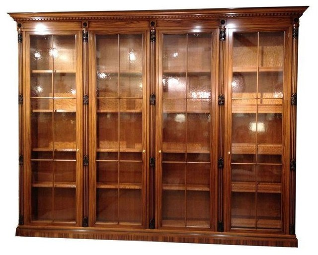 Pre-owned Italian Bookcase Library with Glass Doors - Traditional - Storage Cabinets - by Chairish