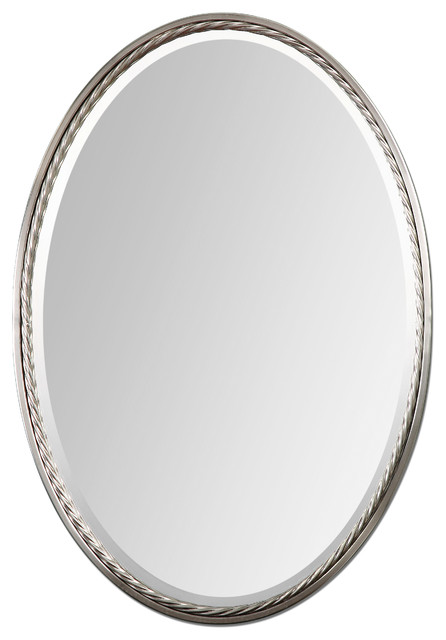 Casalina Nickel Oval Mirror transitional-mirrors