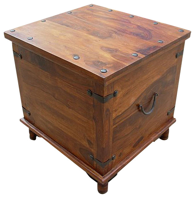 Rustic square storage trunk box coffee side or end table traditional coffee tables Traditional coffee tables and end tables