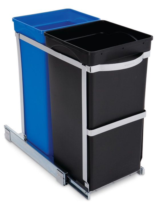 simplehuman - 35 Litre Under Counter Pull-Out Recycler, Commercial Grade - You'll be a recycle star with this disposal duo. Twin buckets (one for trash, one for recyclables) rest securely on a pullout glider for quick and easy access.