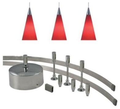 JESCO Lighting 96 in. Low Voltage 150W Monorail Kit With 3 Red Pendants MK-3P210 contemporary-track-lighting-kits