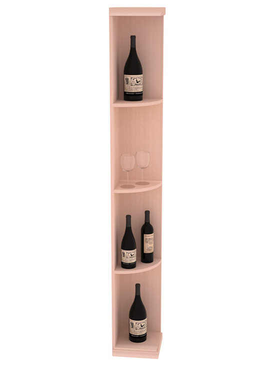 Quarter Round Wine Display in Redwood with White Wash Stain - Highly decorative Quarter Round Wine Displays are the perfect solution to racking around corners. Designed with a priority on functionality, these wine storage units are excellent as end caps to walls of wine racking or as standalone shelving.