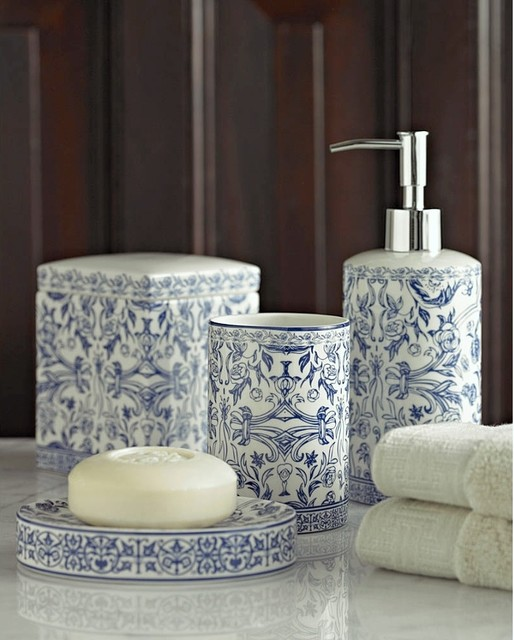orsay bathroom accessory set in blue eclectic bathroom accessories