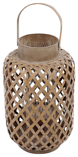 Asian Bamboo Lantern with Glass Hurricane Candle Holder contemporary-candles-and-candleholders