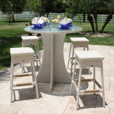 Hospitality Rattan Grenada 5 Piece Patio Pub Set - Viro Fiber White Wash with Te modern-dining-tables