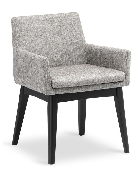 Bryght - Chanel Coral Fabric Upholstered Ebony Dining Armchair - Stunning good looks and comfort define the Chanel dining armchair. It's splayed leg design sets the stage for a mid century modern appeal to your interiors.