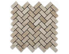 Ivory Travertine Tumbled Herringbone Mosaic Tile contemporary kitchen tile