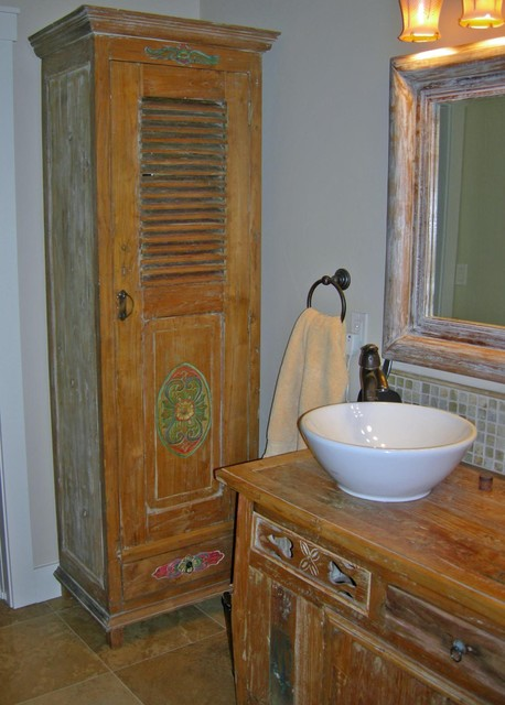 Reclaimed Teak Linen Cabinet & Vanity - Beach Style - Bathroom Cabinets And Shelves - boise - by ...