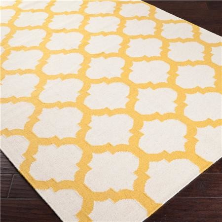 Ironwork Trellis Dhurrie Rug Ivory And Sunflower Yellow Mediterranean Ru