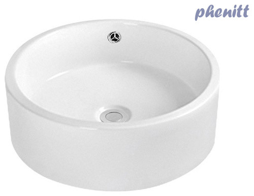 Bathroom Ceramic Vessel Sink With Straight Spout Chrome Faucet modern