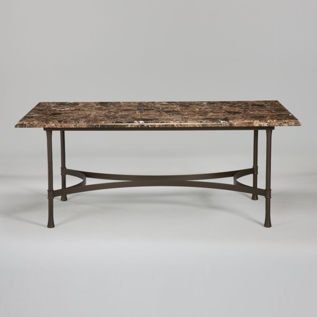 Dining Table With Dark Marble Top Traditional Dining Tables By