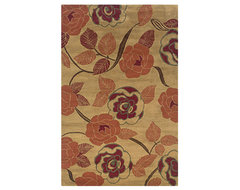 Rizzy Home Light Gold Rose Garden Pandora Area Rug contemporary-rugs