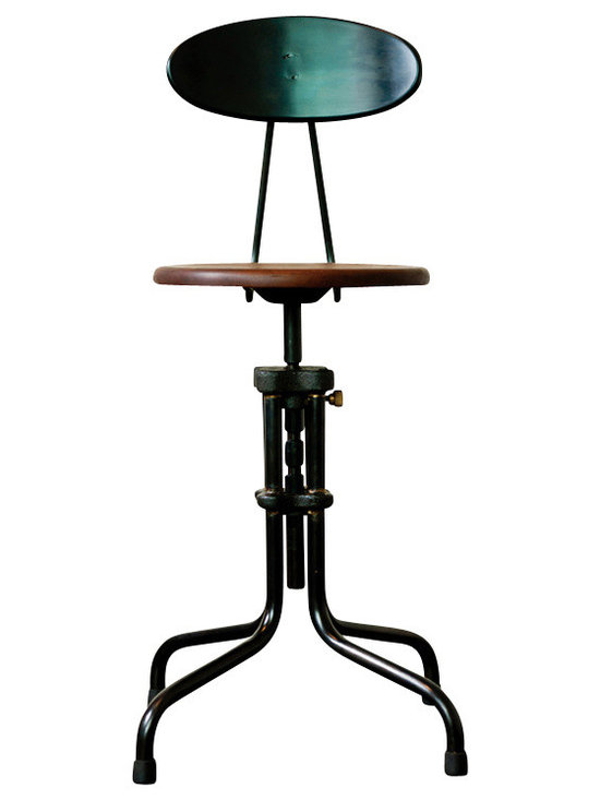 Nuevo Living - V19R-B Adjustable Stool with Backrest, Sepele - In today's disposable world, you're among those who still appreciate quality design that's built to last. A case in point: This impeccably constructed cast iron stool with a backrest for comfort and height adjustment mechanism.