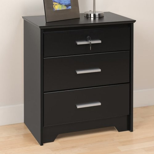 coal harbor 3 drawer tall nightstand with lock black
