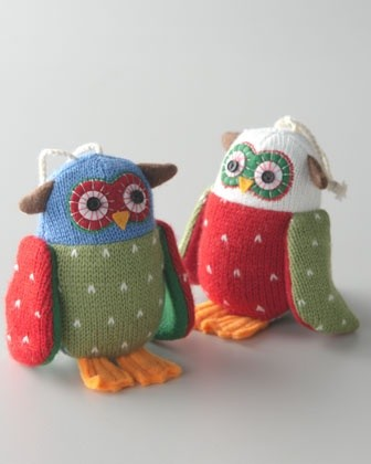 """""""Artisan"""" Owl Christmas Ornaments eclectic-holiday-decorations"""