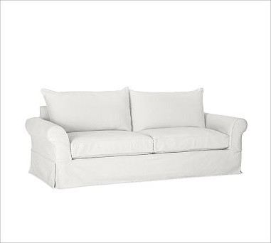 PB Comfort Roll-Arm Grand Sofa with Knife-Edge Cushion Slipcover, Denim Warm Whi traditional-sofas