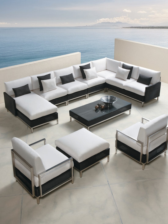 Lloyd Flanders Elements Collection Sectional - Lloyd Flanders Elements Collection Sectional features tightly woven wicker forms, back-to basics bodies and sophisticated stainless steel legs.