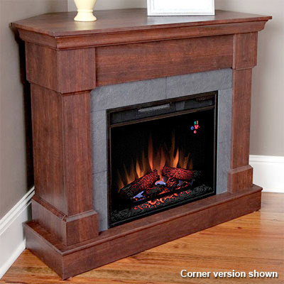 Franklin wall or corner electric fireplace in roasted for Indoor corner fireplace