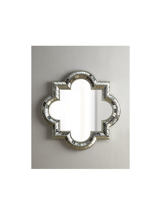 """Horchow - Quatrefoil Mirror - Exclusively ours. Shapely quatrefoil mirror is beveled and engraved, then finished with a champagne-colored frame. Handcrafted of glass, resin, and composite woods. 34""""W x 2""""D x 34""""T. Imported."""