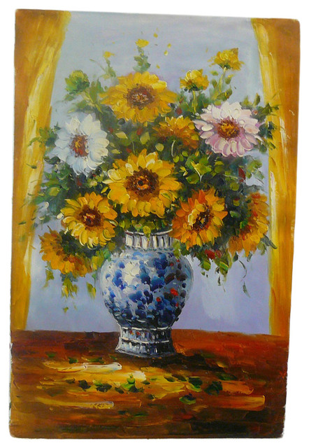 Oil Paint Canvas Art Sunflower Wall Decor traditional-wall-decor