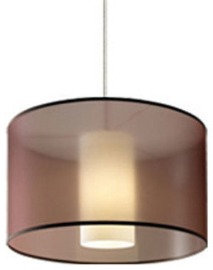 Dillon Brown One-Light Fluorescent Pendant with Antique Bronze Canopy contemporary-pendant-lighting