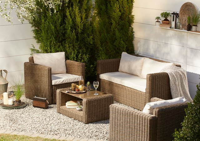 Soron Rattan Effect 4 Seater Coffee Set - Contemporary - Outdoor Lounge Furniture - south east ...