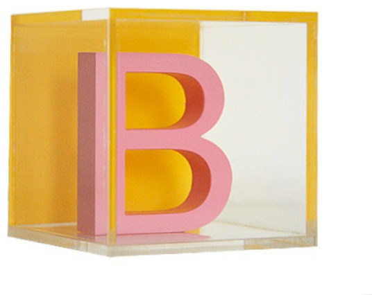 Custom Modern Letter Blocks Pink by ReFormed Art Cubes eclectic-artwork