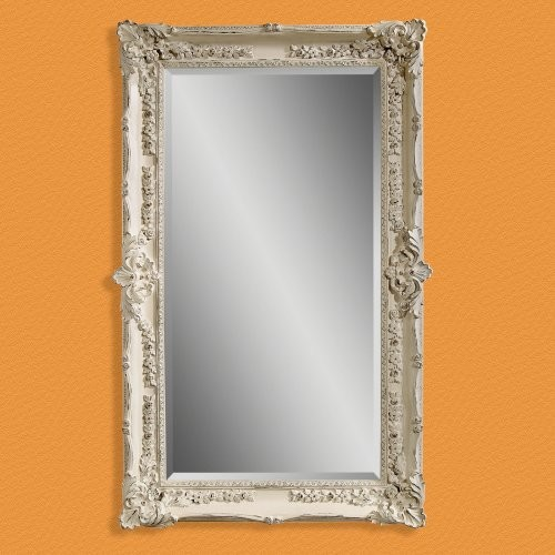 Antique White Wall / Leaning Floor Mirror - 43W x 69H in. traditional-mirrors