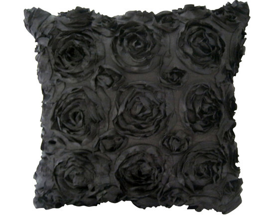 KH Window Fashions, Inc. - Texture Rose Pillow- Black, Without Insert - This textured rose pillow adds a pizazz to any space. The texture is exquisite.