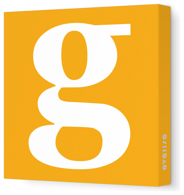 "Letter - Lower Case 'g' Stretched Wall Art, 28"" x 28"", Orange contemporary-artwork"