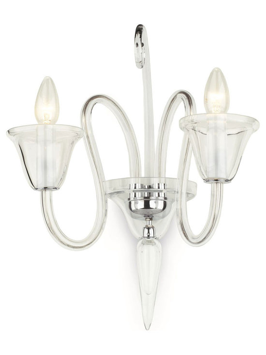 "Inviting Home - Crystal Glass Sconce - Two-light smooth crystal glass sconce; 14""W x 8""D x 17""H assembly required; Two-light wall sconce made of hand-blown smooth crystal glass; all metal parts have chromium finish; genuine Czech crystal; ready to ship in 2 to 3 weeks; The design of all crystal glass lighting fixtures are based on the combination of classical shapes and modern decorations. Plane shapes in clear crystal or other colors mingle with decorative elements such us straight cuts optic or spun crystal glass. As fixed stars among lighting fixtures these types of sconces become timeless sources of illumination suitable for various interiors. These sconces are manufactured using oxygen fuel technology. Only few manufacturers in Europe that use oxygen fuel technology. This allows for better control and manage the preparation process of glass. The result is impeccably pure glass of highest quality with minimal amount of visual irregularities. Every component passes thorough strict internal Quality Control processes. Highest quality European production with certified standards. UL approved - dry location; hardwire; 2x E12/14 - 40W bulbs; bulbs not included. Made in Czech Republic"