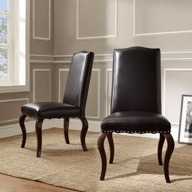 Homelegance calhan traditional bonded leather parson chair for Leather parsons dining chair