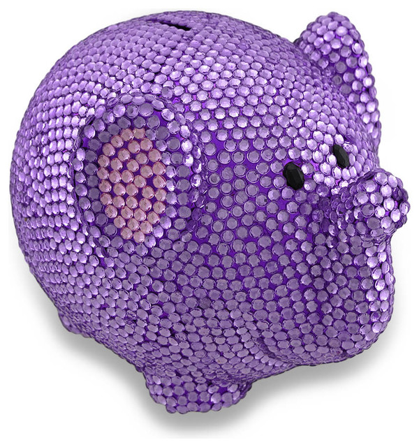 Purple bling elephant coin bank razzle dazzle rhinestone piggy bank traditional piggy banks - Rhinestone piggy bank ...