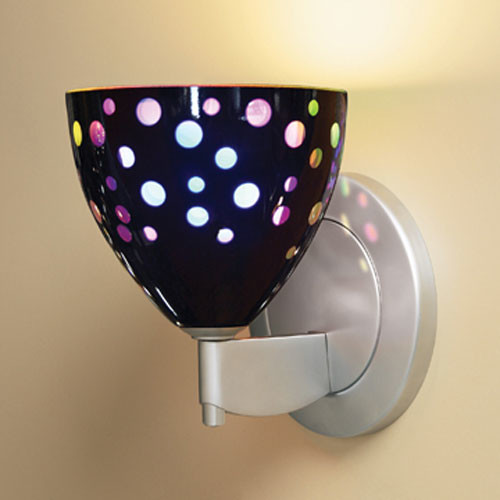Rainbow II Matte Chrome One-Light Wall Sconce with Black Glass modern-wall-sconces