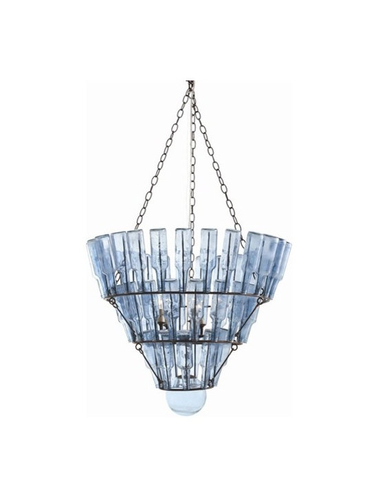 Arteriors Stedman Iron/Blue Glass 5 Light Chandelier - Stedman Iron/Blue Glass 5 Light Chandelier