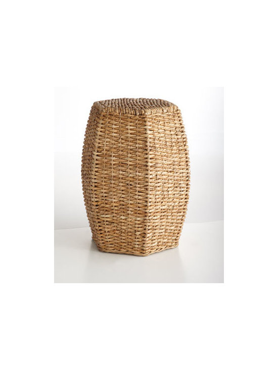 """Horchow - Seagrass Garden Seat - Exclusively ours. A fresh take on the classic garden stool, this beauty brings rustic charm to the room with its hexagonal shape and eco-friendly fibers. Made of handwoven seagrass over metal frame. """"14.25""""W x 15.75""""D x 20.25""""T. Imported."""