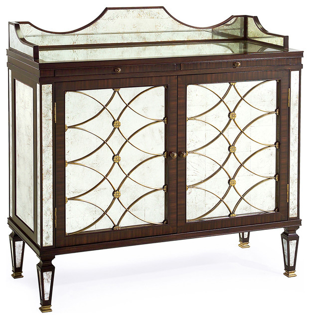 Cordelia Hollywood Regency Silver Leaf Mirrored Rosewood Bar Sideboard transitional-buffets-and-sideboards