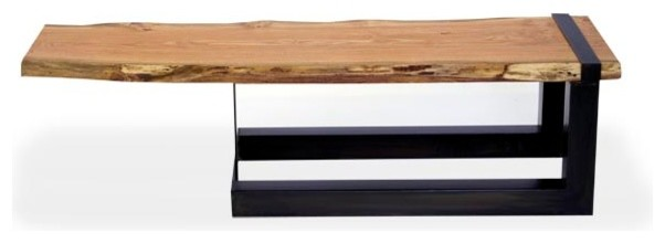 Reclaimed Live Edge Honey Locust Slab Cantilever Coffee Table contemporary-coffee-tables