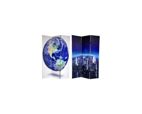 Functional Art/Photography Printed on a 6ft Folding Screen - 3 panel 6ft folding screen with double sided images of earth and NYC skyline