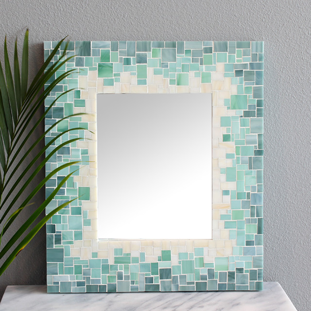 Mosaic Wall Mirrors Beach Style Bathroom Mirrors