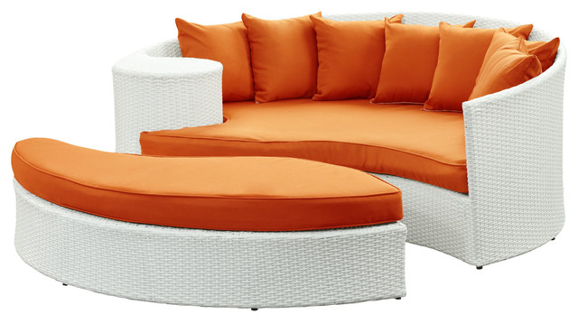 Taiji Outdoor Wicker Patio Daybed with Ottoman in White with Orange Cushions